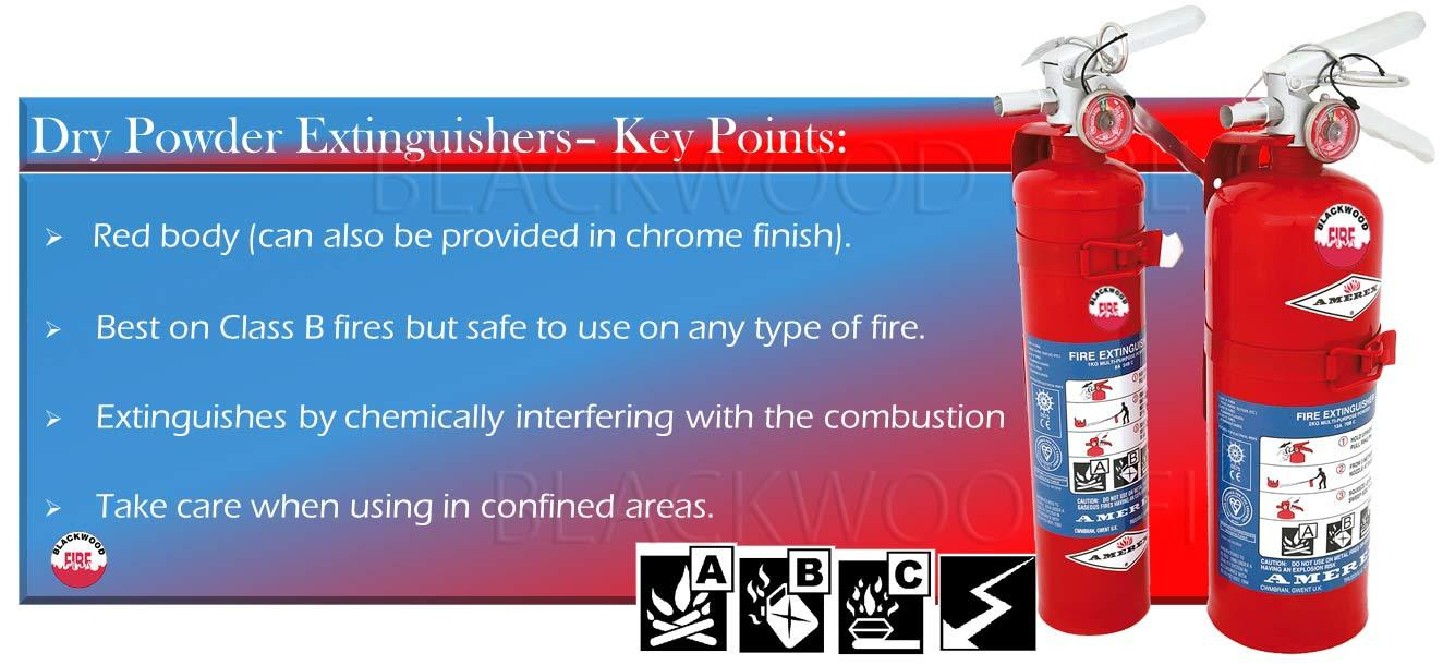 Amerex Dry Powder fire extinguishers -  with key points