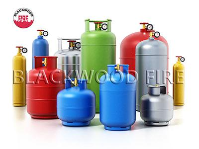 Multi-coloured gas cylinders