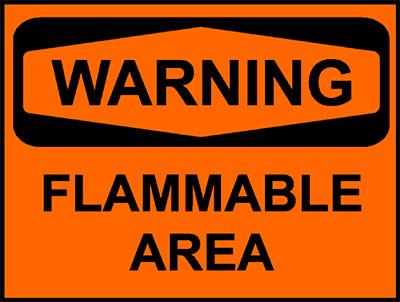 Warning - Flammable area sign
